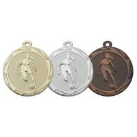 Damesvoetbalster op een medaille